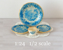 1:24 half scale French Blue decals for miniature dishes