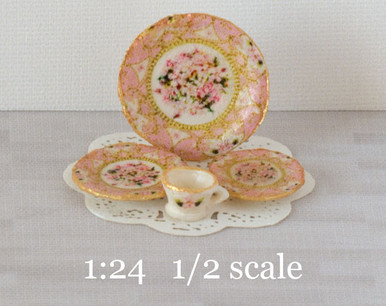 1:24 half scale Pink Regency decals for miniature dishes