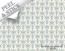 Bouquet, Blue. 1:48 quarter scale peel and stick wallpaper