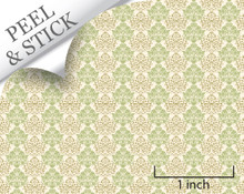Mums, Green. 1:48 quarter scale peel and stick wallpaper