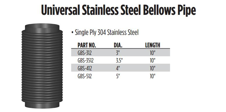 Universal stainless steel bellows pipe