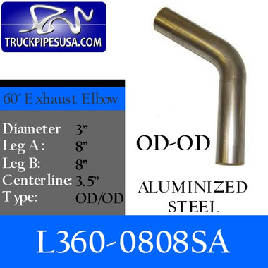 3  60 Degree Exhaust Elbow 8  x 8  OD-OD- Aluminized L360-0808SA  sc 1 st  Exhaust Pipes : 3 inch od steel pipe - www.happyfamilyinstitute.com
