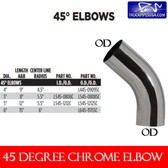 6 inch 45 Degree Elbow 15 x 15 OD-OD Chrome L645-1515SC