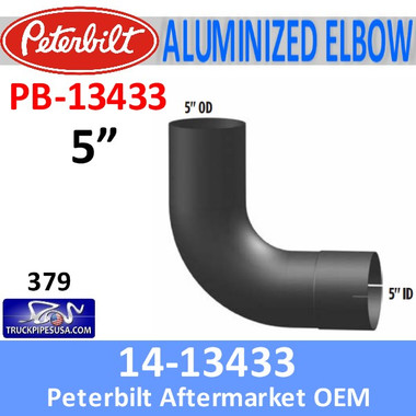 14-13433 Peterbilt 379 Exhaust 90 Degree Aluminized Elbow PB-13433