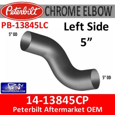 14-13845CP Peterbilt Left Side Chrome Exhaust Elbow PB-13845LC