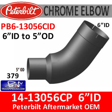 "14-13056 6"" ID to 5"" OD Peterbilt 379 Chrome Elbow PB6-13056CID"