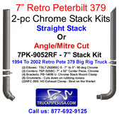 Peterbilt 379 Chrome Stack Kit - Choose Mitre or Straight Cut