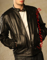 Men&#039;s leather fashion jacket goat skin soft supple high waist az