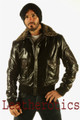 New Mens Glaze Leather Bomber Flight Jacket Gents Top Aviator With Fur Collar