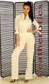 Tight Suit off white nude linen cotton Catsuit Jumpsuit playsuit