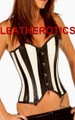 Black white leather corset steel boned sexy overbust 1806