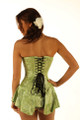 green silk corset