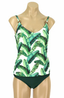 "TKR7 Tankini with Soft Cup Shelf Bra ""Banana Leaf"""