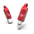 Adam Elements iKlips Duo+ Apple Lightning and USB 3.1 Flash drive - backup, playback video, audio and more - iPhone or iPad, 64GB, Red