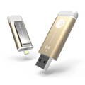 iKlips Apple Lightning and USB 3.0 Flash drive - backup, playback video, audio and more - iPhone or iPad, 64GB, Gold