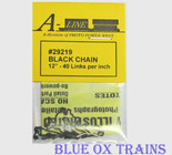 "A-Line 29219 HO Scale Black Chain 12"" Long - 40 Links Per Inch"