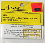 A-Line 29211 HO Scale Etched Brass Sunshades E and F Unit Diesels