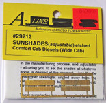 A-Line 29212 HO Scale Etched Brass Sunshades Comfort Wide Cab Diesels