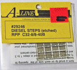 A-Line 29246 HO Scale Etched Brass Diesel Steps Rail Power Products C32-8 8-40B