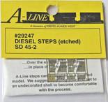 A-Line 29247 HO Scale Etched Brass Diesel Steps Rail Power Products SD45-2
