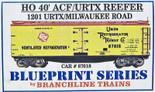 BRANCHLINE BLUEPRINT HO 40' ACF/URTX REEFER MILW #1201