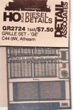 Detail Associates 2724 Air Grilles - For Athearn GE C44-9 HO Scale