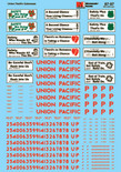 Microscale Decal 87-97 Union Pacific Cabooses - CA3 thru CA10 - Includes Safety Slogans