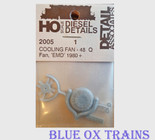 "Detail Associates 2005 Cooling Fan Q-Type 48"" pkg(1) Ho Scale"