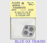 "Plano Model 470 48"" Spiral Fan Grilles 24 Radial Arm Style for Proto 2000 GP30 (Photo-Etched Metal) Ho Scale"