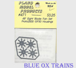 "Plano Model 471 48"" Blade Fans for Proto 2000 GP30 8 Blade Style Ho Scale"