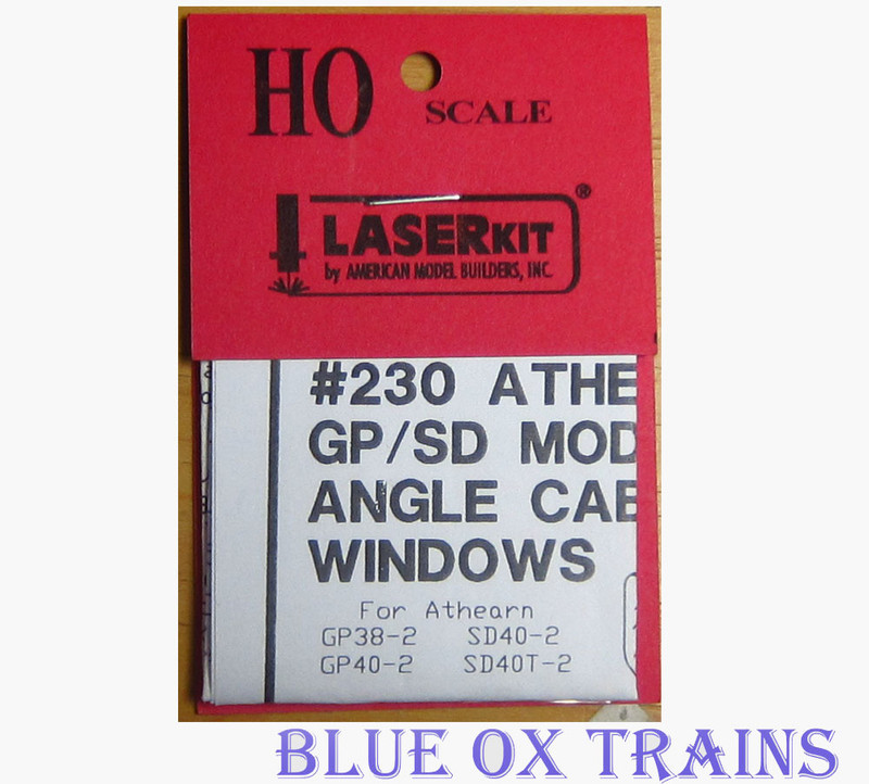 American Model Builders AMB 230 Pre-Masked Laser-Cut Acrylic Glazing Window Sets Athearn GP/SD Locomotives