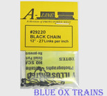 "A-Line 29220 HO Scale Black Chain 12"" Long - 27 Links Per Inch"