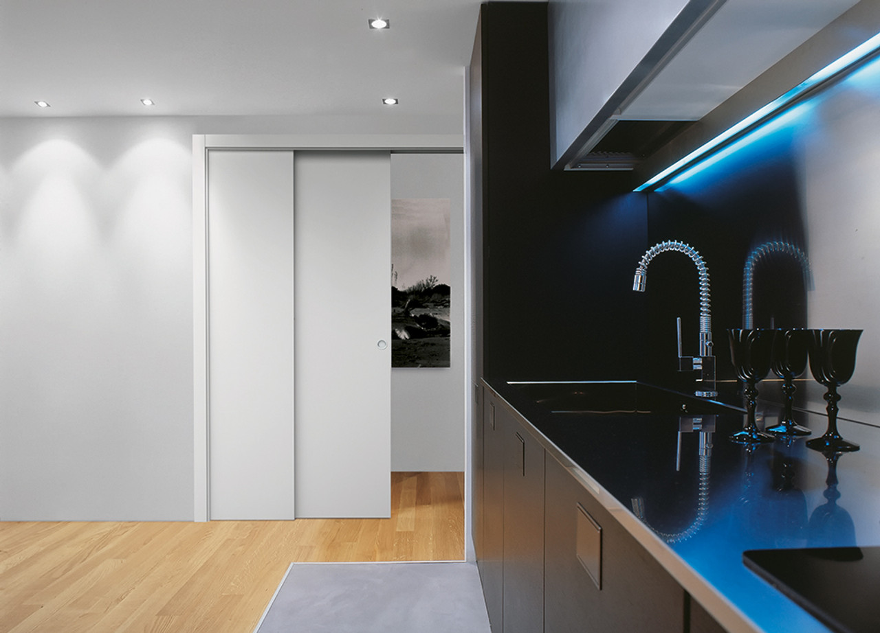 An Eclisse single telescopic pocket door systems allow two doors to disappear into the same pocket & Eclisse Telescopic Sliding Single Pocket Door System Pezcame.Com