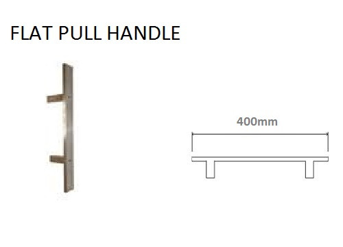 Glass Door Handle - 400mm Flat Stainless Steel Pull Handle (FLS400)