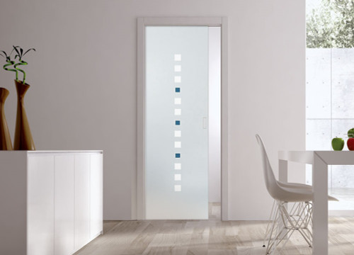 Classic Glass Pocket Door System Patterned QUADRELLO