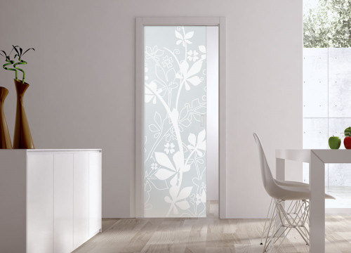 Classic Glass Pocket Door System Patterned JUNGLE