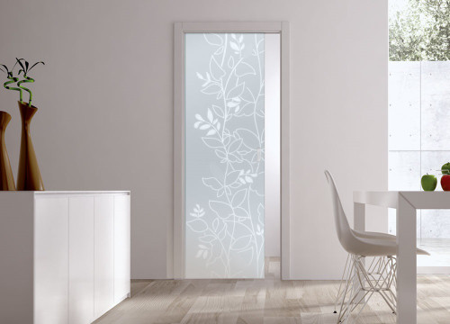 Classic Glass Pocket Door System Patterned OPALE