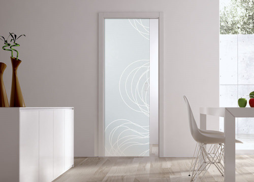 Classic Glass Pocket Door System Patterned FIBRE