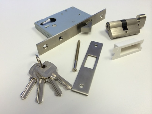 A thumb turn bathroom lock with key for Eclisse pocket door system