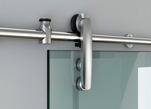 Close up of runners for stylish sliding glass door