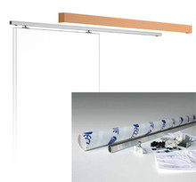 This sliding door gear kit includes a 2m track, track holder, runners, runner stops, door guide, wall brackets and wooden pelmet (MDF) with pelmet clips.
