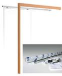 Wall mounted sliding door kit complete with wooden pelmet and doorpost.