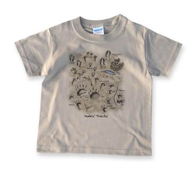 Animal tracks kids 39 t shirt mountain graphics free for Wildlife t shirts wholesale