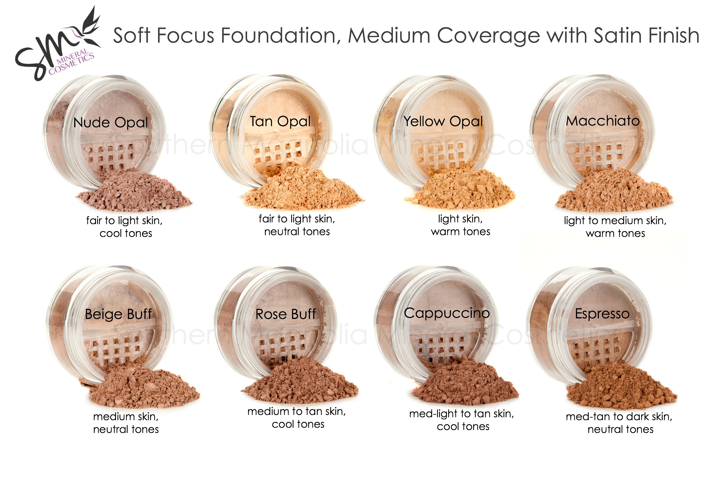 Foundation color charts southern magnolia mineral cosmetics soft focus color chart with watermarkg nvjuhfo Image collections