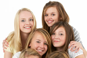 Young girls with friends