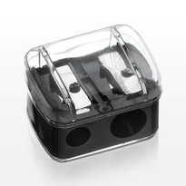 Side by Side Dual Eye + Lip Pencil Sharpener | Includes Cap + Cleaning Stick