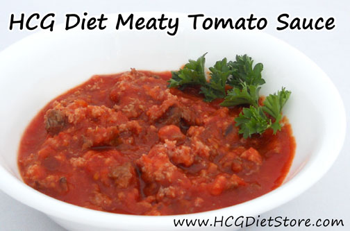 This HCG recipe is perfect if you have to cook dinner for a group of people because it is just like a spaghetti sauce. You can just eat the sauce, other can add noodles!