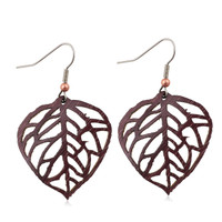Aspen Leaf earring on Purpleheart -large