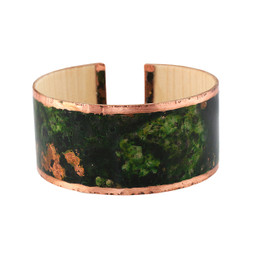 Moss- wood and copper bracelet. Patinated copper on maple