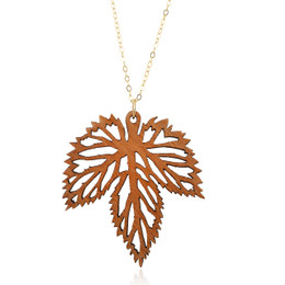 Hops leaf wooden pendant in madrone